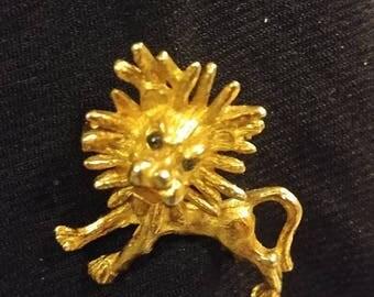 Goldtone Lion With Black Eyes
