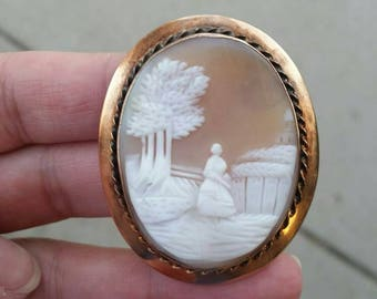 Gold filled woman strolling shell cameo brooch