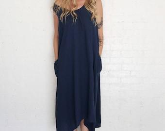 Navy blue linen market dress