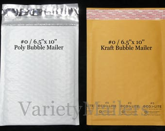 """18 Kraft & Poly Bubble Padded Envelope Mailer Combo #0 / 6.5""""x 10"""" Self-Sealing Made in The USA ~ Free Shipping!"""