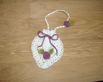 small pouch white pineapple motif lace with flower purple