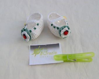 SHOES white baby girl handmade crochet 100% cotton