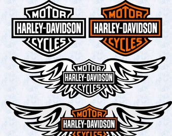 Harley Davidson Logo Wings SVG, harley davidson dxf, harley wings logo clipart, harley cut file, silhouette cameo, cricut