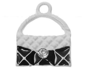 x 1 black and white purse charm