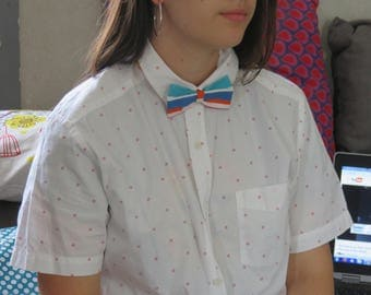 Colorful Butterfly bow & stripes is handmade.