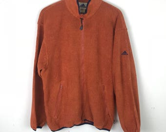 Rare!!! Vintage!!! Adidas Sweatshirt Sweater Full Zipper Double Pockets Spellout Small Logo Embroidery