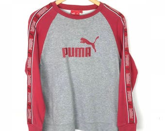 Rare!!! Vintage!!! Puma Sweatshirt Pullover  Big Logo Spellout Embroidery Stripes Multicolors