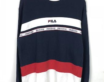 Rare!!! Fila Pullover Spellout Small Logo Embroidery Stripes Multicolors Jumper