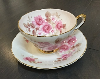 Royal Sutherland Teacup with Pink Roses