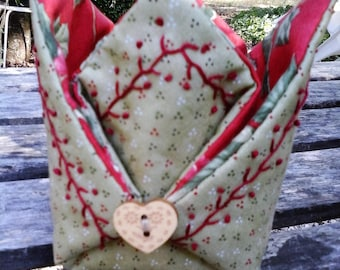 Embroidery, fabric basket Christmas fabrics and sewing kit
