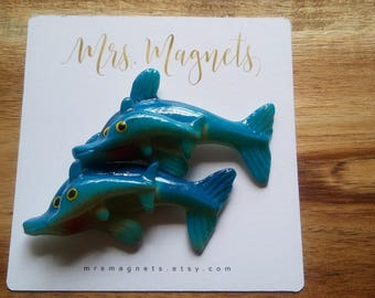 Dolphin Magnets Set of 2 - kitchen refrigerator magnets, office magnets, teacher gift, hostess gift