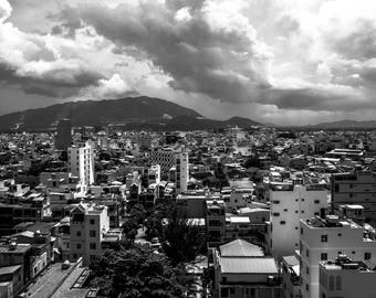 View of Nha Trang City Vietnam in Black and White Instant Digital Download  Personal or Commercial Use