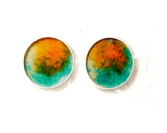 White Stud Earrings with green and orange resin cabochons colored sand