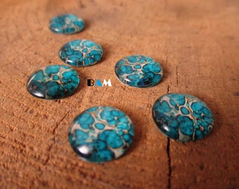 Set of 2 cabochon glass 12 mm turquoise pattern