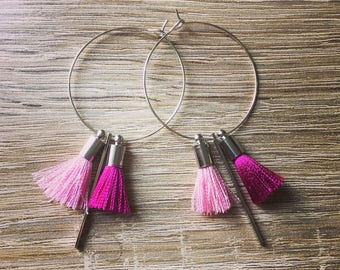 35mm with pink and fuscia tassels earrings