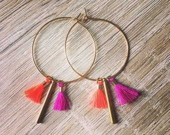 Hoop earrings 30mm with mini pom poms and bar charm