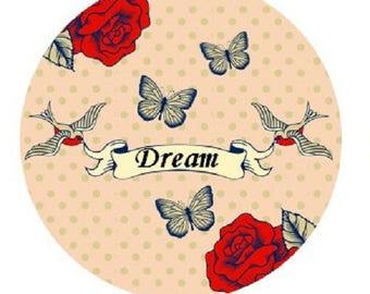 "cabochon 20mm ""Dream"", ""love bird"""