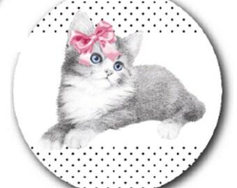 Black Cat, noeudrose dot background, 18mm