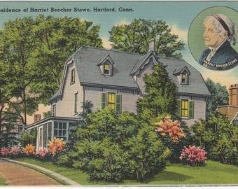 Residence of Harriet Beecher Stowe - Hartford, Connecticut CT - postmarked 1941 - Vintage Linen Postcard