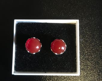 Red Carnelian Sterling Silver Stud Earrings