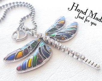 Dragonfly Necklace, Dragonfly jewelry, Custom necklace, Initials, I love dragonflies, dragonfly