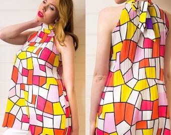 Vintage halter top, Multicoloured top, Geometric pattern, Womens top, Short sleeved top, 80s top