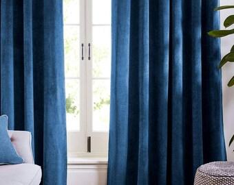 Blue Navy Blue Velvet Curtains and Drapes  Dark Curtains Panels