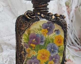 Home decor,Handmade,Decorated glass bottle,Decoupage glass bottle, Painted bottle.