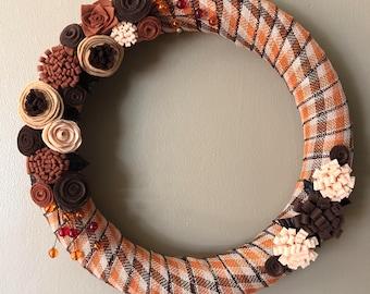 Fall plaid ribbon wrapped wreath with felt flowers