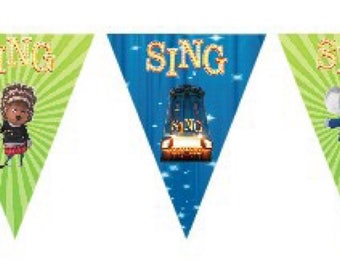 SING Movie New Party Birthday Bunting Banner Flags. Supplies Lolly Loot Bag Cake Invitation Room Decoration Topper Balloon