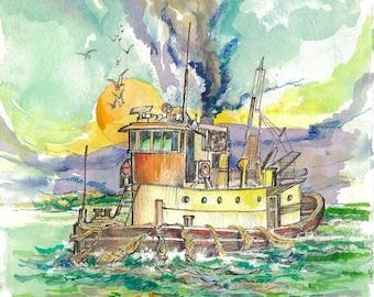 Sunset Iron Cove | Watercolor, Pencil, Ink, Boat, Sea, River, Anchor, Ocean, Australia, Decor, Wall Art, Original, Colorful