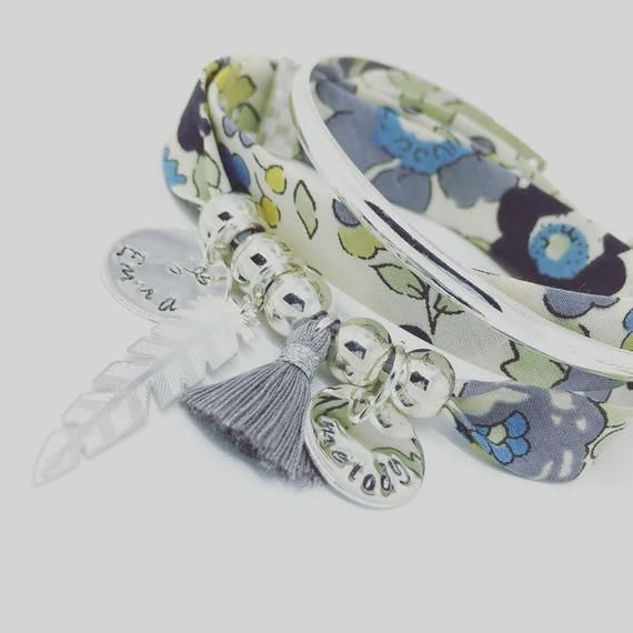 ★ Liberty Addict ★ Bracelet Liberty Betsy Verbena GriGri XL with 2 custom ENGRAVINGS, silver feather and tassel by Palilo