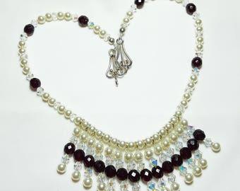 Garnet Cream Pearl Fringe Bridal Wedding Necklace Set