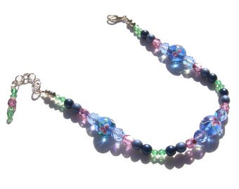 Light Sapphire Blue Lampwork Beaded Ankle Bracelet 9