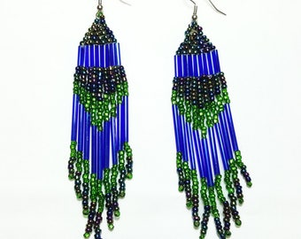 Peacock Emerald Beaded Dangle Earrings