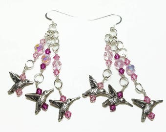 Pink Rose Fuchsia Crystal Hummingbird Beaded Earrings