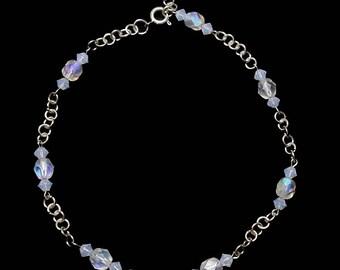 October White Opal AB Crystal Ankle Bracelet