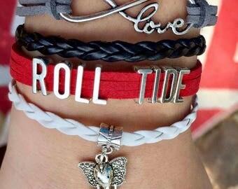 Infinity Bracelet, Elephant Bracelet, Alabama Bracelet, Roll Tide Bracelet, Infinity Bracelet, Boho Bracelet, Football Bracelet, Red