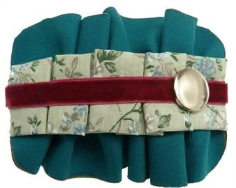 Clip type teal pleated fabric hair clip barrette cotton floral Green Velvet