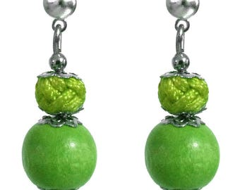 Small earrings Stud wood small bead and green satin cord Apple silver setting