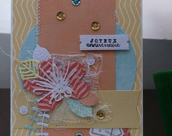 Birthday card yellow pink and blue