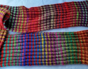 SCARF, Colorful, long , hand-knit, Noro Kureyon yarn, ribbed worsted wool scarf, bright, colorful, striped warm scarf