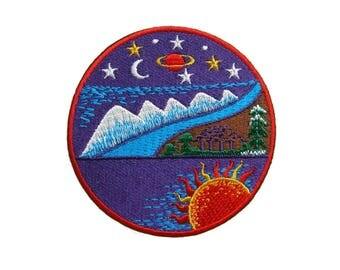 Fantasy Iron On Patch Galaxy Embroidered Applique Patches For Jackets