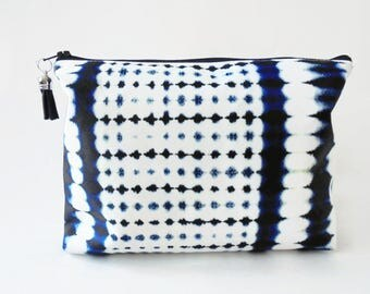 Gifts for her, Wash bag, indigo, tie dye, shibori print, travel bag, cosmetic bag, zip bag.