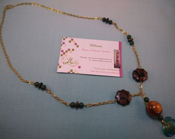 Pendant necklace green/brown polymer §40§