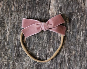 Hand tied velvet bow for babies, toddlers and little girls in Mauve