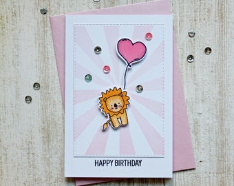 up up and away lion birthday card
