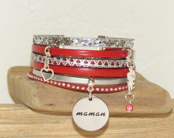 """""""Happy mother's day"""" Cuff Bracelet leather and glitter, silver and Red"""