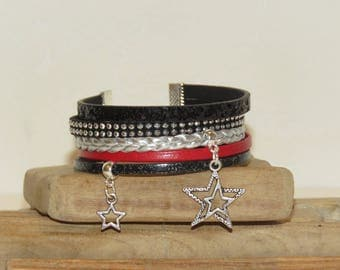 """""""Rock star"""" Cuff Bracelet leather glitter studded Suede, leather, black, red and silver"""