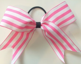 Pink/White cheer bow
